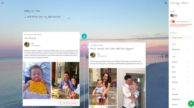 Familien teilen Erinnerungen mit einem Onlinetagebuch